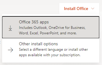 install office dropdown in the top right, with the highlighted option office 365 apps below it as well as other install options