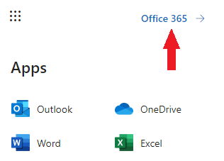 after button from previous image is clicked, reveals grid of apps and an office 365 hyperlink in the top right