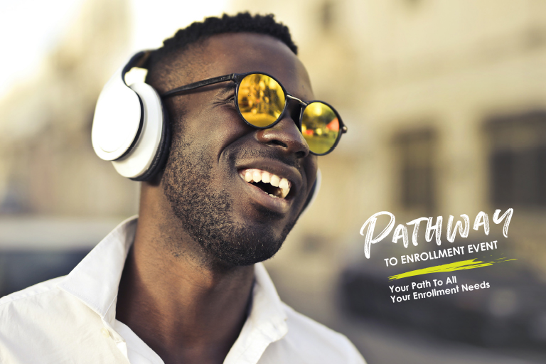 black man in sunglasses words say Pathway to Enrollment event