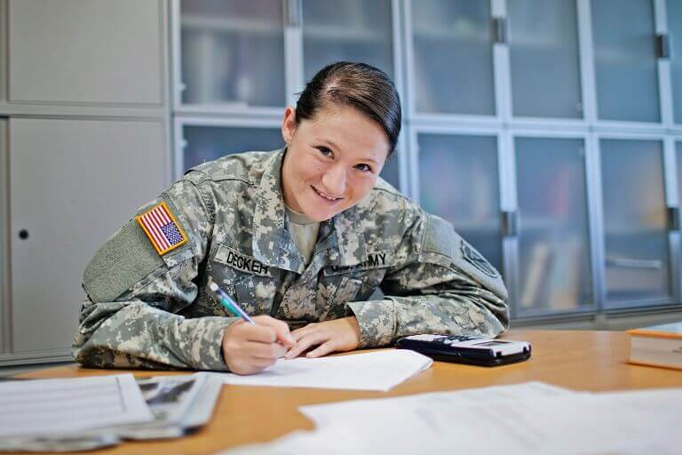 Female soldier sitting at table