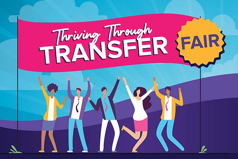 Thriving through Transfer banner with students